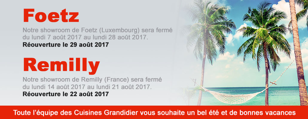 Fermetures vacance 2017